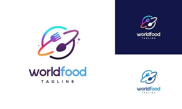世界の食品のロゴデザインコンセプト、レストランのロゴデザインテンプレート、ロゴアイコンシンボル