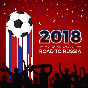 World football cup 2018 crowd and euforia vector