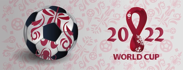 현실적인 3d 축구공으로 세계 축구 컵 2022. 스포츠 포스터, 배너, 전단지 현대적인 디자인. 현대 배경에 개념 글꼴 축구 2022