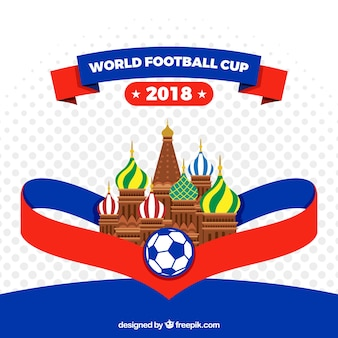 World football cup background with architecture