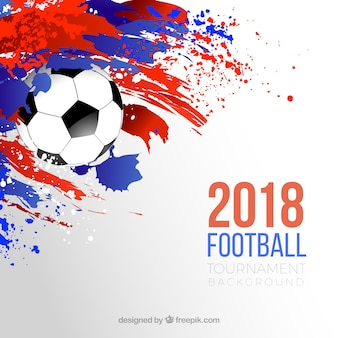 World football cup background with ball and colorful stains