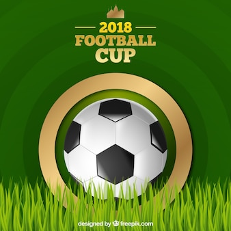 World football cup background with ball in realistic style Free Vector