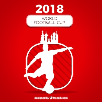 World football cup background with player silhouette