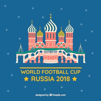 World football cup background with russian building