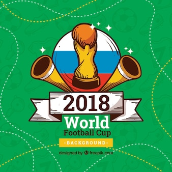 World football cup background with trophy in hand drawn style