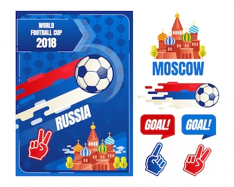 World football cup in Russia poster design elements