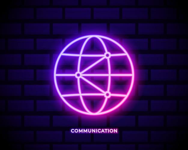 Мир, глобальный, значок сети неоновый цвет значка.