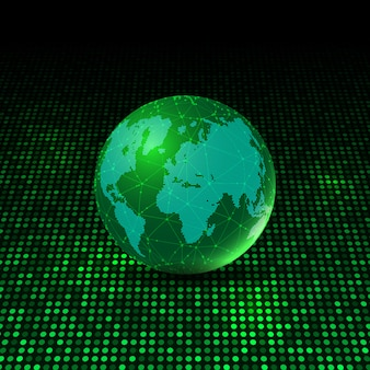 World globe on glowing dots background