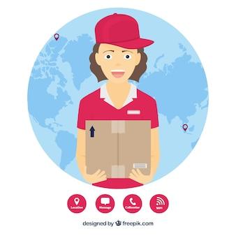 World globe e smiley deliverywoman