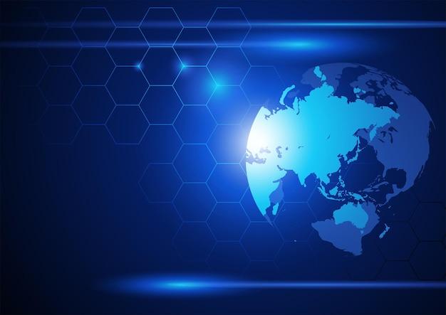 기술 미래 개념을 위한 광속 및 연결된 선 그림이 있는 세계 지구