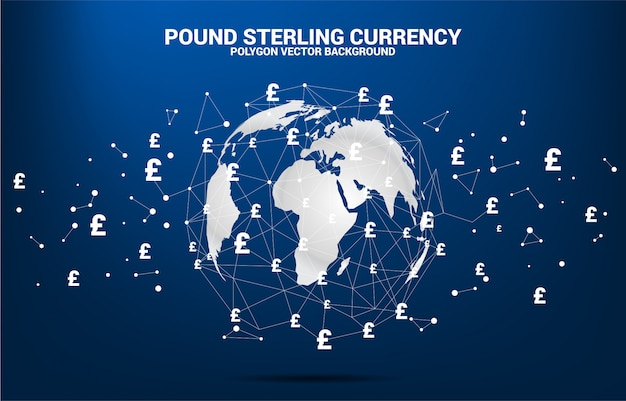 World globe with money pound sterling currency symbol polygon dot connected line.