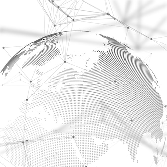 World globe with shadow on gray background. abstract global network connections, geometric design technology