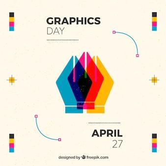 Всемирный день графического дня в плоском стиле