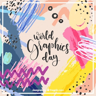 World graphics day background with abstract shapes in watercolor style
