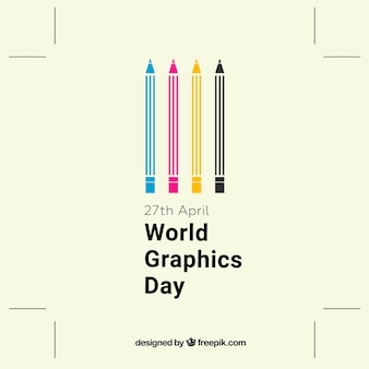 World graphics day background with color pencils