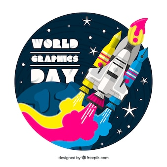 World graphics day background with colorful ship