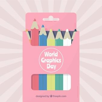Priorità bassa di giorno di grafica del mondo con scatola di colori