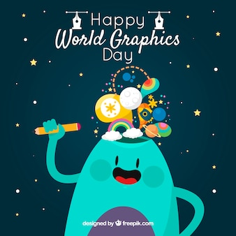 World graphics day background with cute monster