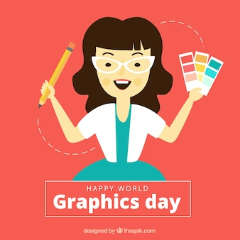 World graphics day background with designer in watercolor style