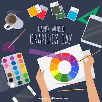 World graphics day background with desk