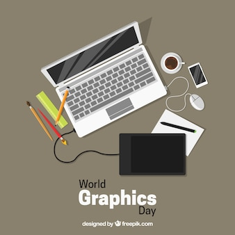 World graphics day background with devices