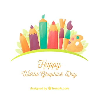 World graphics day background with differents tools to draw