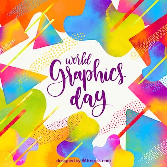 World graphics day background with geometric shapes in watercolor style