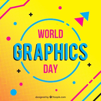 World graphics day background with geometric shapes