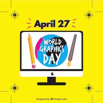 画面のコンピュータで世界のグラフィックデイの背景