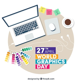 World graphics day background with work desk