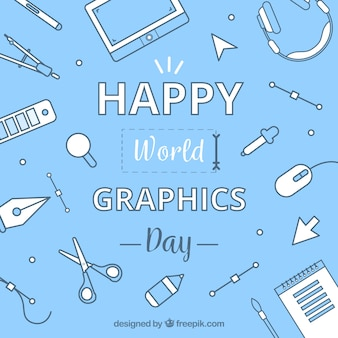 World graphics day background with work tools
