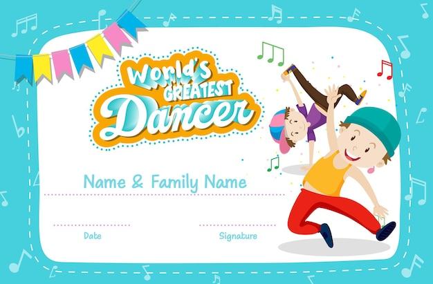 Modello di certificato di ballerino più grande del mondo