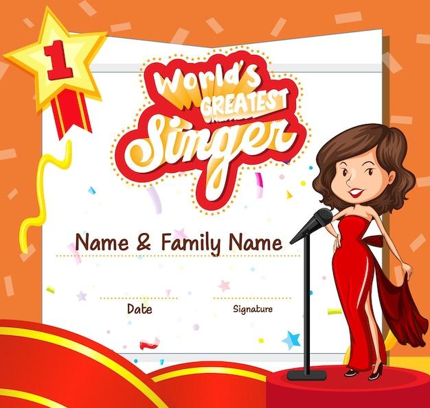 Modello di certificato per il più grande cantante del mondo