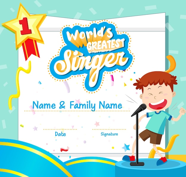 Шаблон сертификата величайшего певца мира