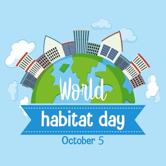 World habitat day 5 october logo with towns or city on globe