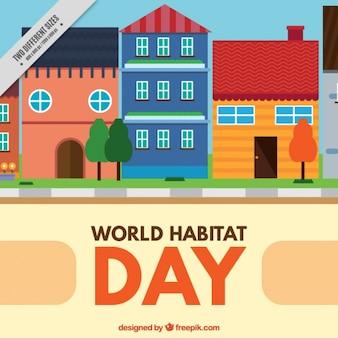 Habitat del mondo di fondo giornata con il paesaggio urbano in design piatto