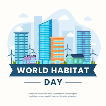 World habitat day in flat design