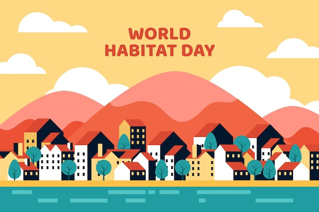 World habitat day flat design