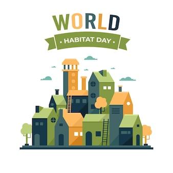 World habitat day in flat design
