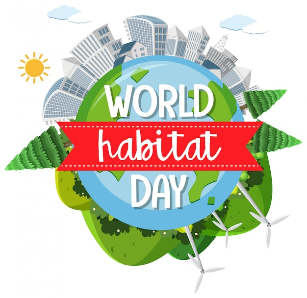World habitat day icon logo with towns or city on globe