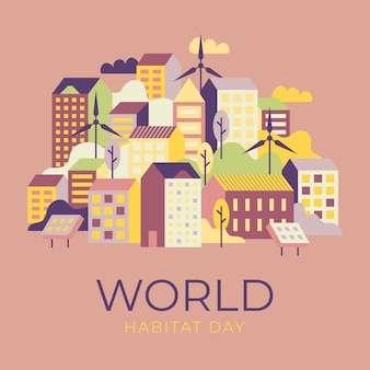World habitat day illustrated style