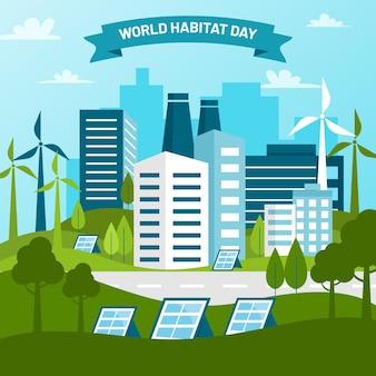 World habitat day illustration concept