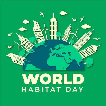 World habitat day illustration in paper style