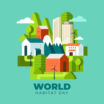 World habitat day illustration