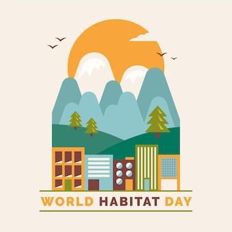 フラットなデザインで世界の生息地の日