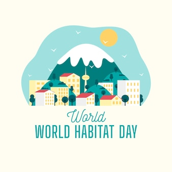 Всемирный день среды обитания в плоском дизайне