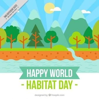 Habitat giornata mondiale paesaggio di sfondo con fiume in design piatto