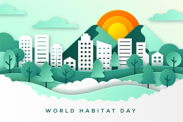 World habitat day in paper style concept