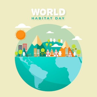 World habitat day in paper style design
