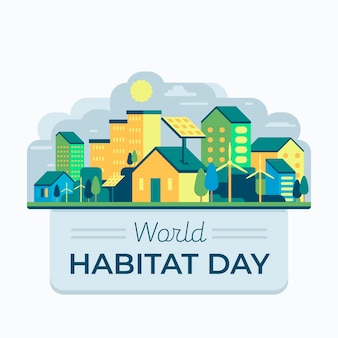World habitat day in paper style theme